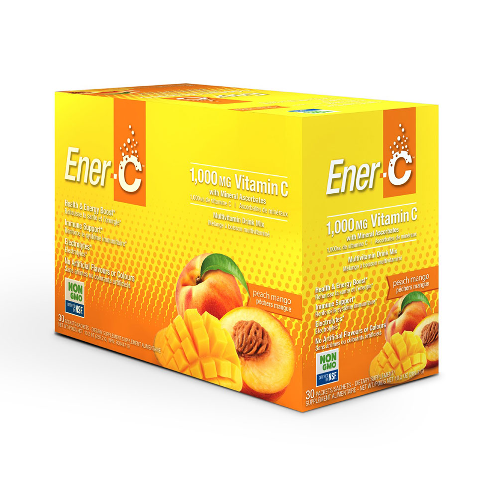 : Ener-C 1000mg Vitamin C Effervescent Drink Mix, Peach Mango